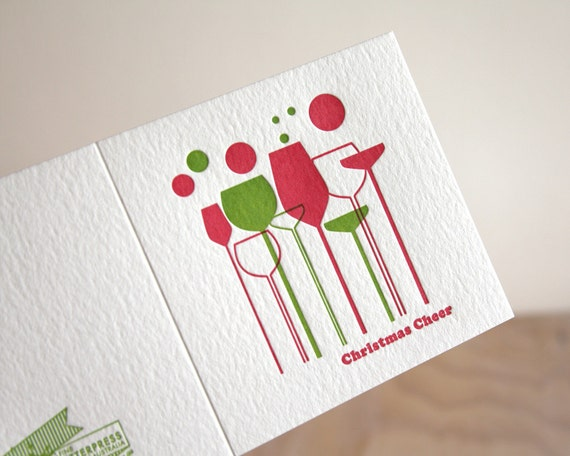 Letterpress Christmas card, Christmas cheer, holiday card, Champagne, Wine, Bubbles, retro styling, red and green Made in Australia