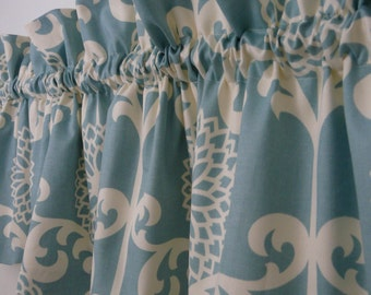 Blue Valance, Light Blue and Cream Ruffled Valance, Home Decor Print Fun Floret Spa Curtain, Powder Blue Abstract Valance, Home and Living
