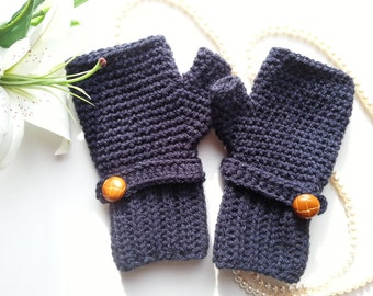 Crochet fingerless gloves in navy, wrist warmers-Winter Gloves