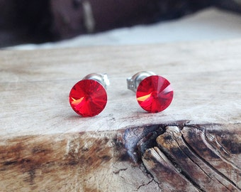 Get 15% OFF - 6mm Swarovski Crystal Light Siam Red Crystal Silver Surgical Steel Post Earrings - 4th of July SALE 2017