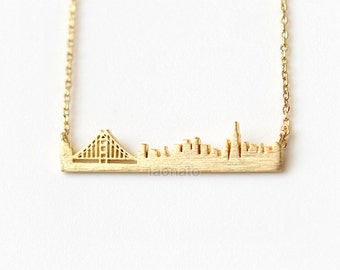 Cityscape Necklace- San Francisco / choose your color- gold, silver and pink, skyline necklace