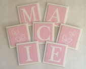 Pink Baby Name Blocks, Wall Letters Room Decor, 6x6 Personalized Wooden Plaques with Sample Butterflies Painted Pink Custom Nursery Gifts