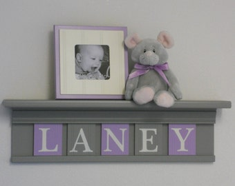 Baby Nursery Girl Name Letter Sign Shelf, Wall Decor, Nursery Decor, Wall Name Sign - Grey Shelf with Light Purple and Gray