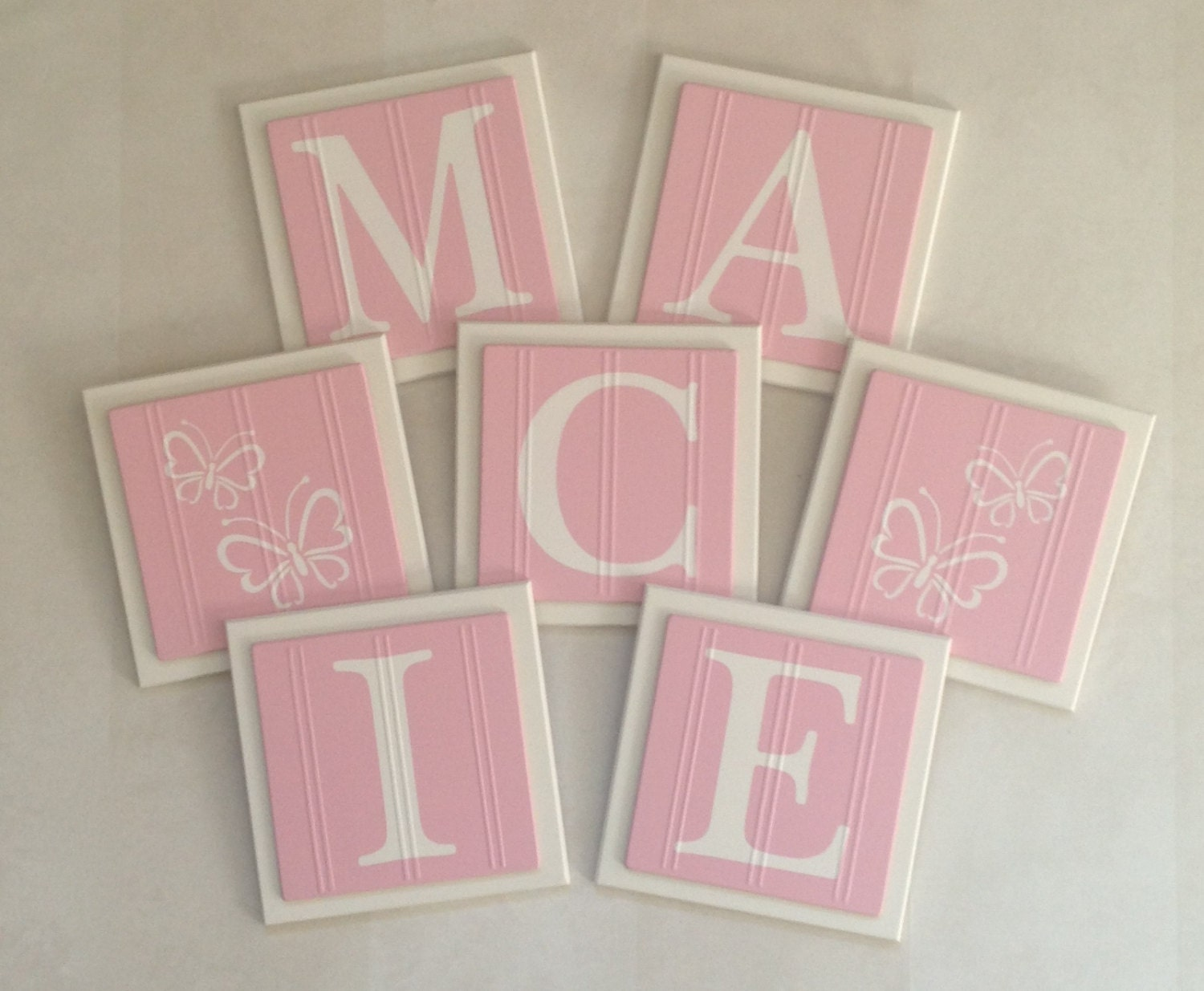 Wall Decor Block Letters : Pink baby name blocks wall letters room decor by