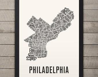 PHILADELPHIA Neighborhood Typography City Map Print