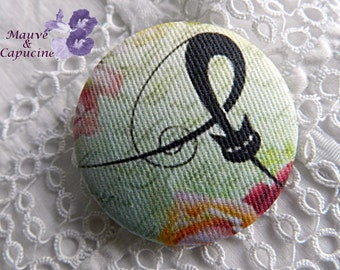 Fabric button,  amazing cat, 0.86 in / 22 mm