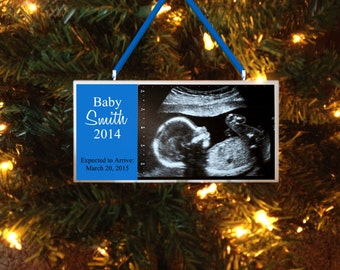 Coming Soon Baby Ultrasounds Sonogram Personalized Ornament Gift, Expected Arrival New Baby Boy or Girl, Gift for Expectant Mother