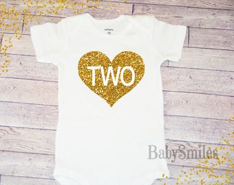 Second Birthday Shirt Second Birthday Shirt Baby Girl Birthday Two Girl Birthday Gold Two Shirt Girl Second Birthday Gold Glitter Shirt 101