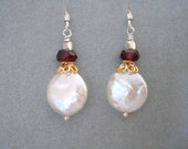 Garnet coin pearl earrings, Gold and Silver. Red Garnet, white freshwater pearl, Gold Vermeil Sterling Silver earrings. Pearl Garnet jewelry