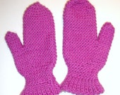Brilliant Pink WOOL and MOHAIR Crochet Mittens