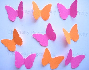 100 Hot Pink  Bright Orange Classic Butterfly punch die cut scrapbooking embellishments E1554