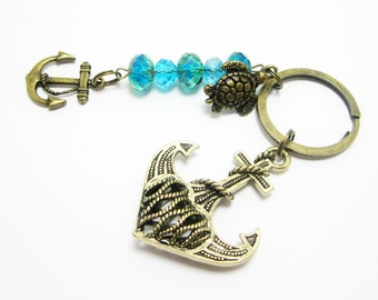 Nautical Keychain Filigree Bronze Anchor Picasso Czech Beads Turtle and Small Anchor Charms Beachy Key Chain 273