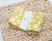 Large Cloth Napkins - Set of 4 - (N2520) - Mustard Yellow Modern Reusable Fabric Napkins