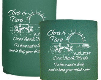 Personalized Wedding Favors Beer Coolers - Custom Beach Destination Wedding To Have and To Hold and To Keep Your Drink Cold Can Hugger