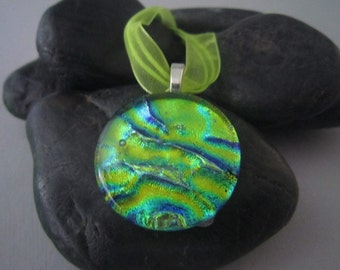 Yellow Blue and Green Round Pendant