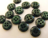 15 Forest Green Lifted Center Round Buttons. Size 5/16""