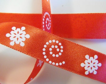 Red with White Snowflakes and Swirls Ribbon 3 Yards