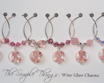 Pink Ribbon Wine Glass Charms - Set of 6