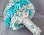SALE Ready to Ship Vintage Bridal Brooch Bouquet - Pearl Rhinestone Crystal - Teal Blue Aqua Blue Starfish BB053LX