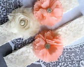 Wedding Garter Set Bridal Garter Set Peach Pink Lace Garter Set Ivory Rhinestone Crystal Lace Garter Beach Wedding GR126LX