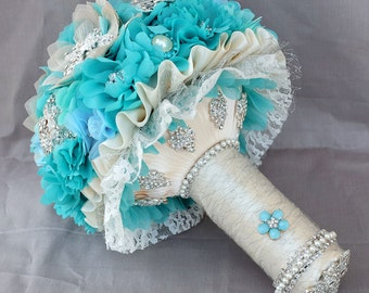 SALE Ready to Ship Vintage Bridal Brooch Bouquet - Pearl Rhinestone Crystal - Teal Blue Aqua Blue Starfish BB053LX