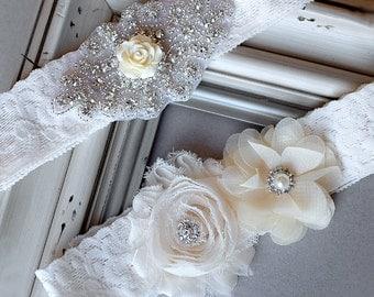 Wedding Garter Belt Set Bridal Garter Set Ivory Lace Garter Belt Lace Garter Set Rhinestone Crystal Rose Center Garter GR104LX