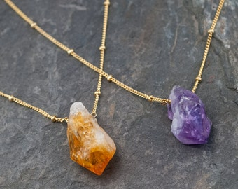 Raw Citrine Necklace - November Birthstone - Gold Satellite Chain - Rough Gemstone Crystal Point Yellow Nugget Boho Style Layering Jewelry