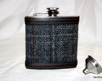 Harris Tweed Hip Flask in Presentation Box - 6oz Black/Grey Check