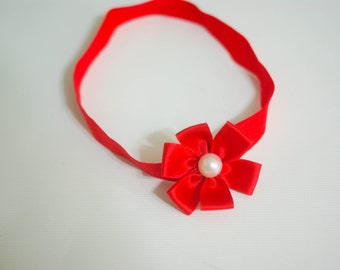 Red Ribbon Pearl Flower Headband--One Size Fits Most Headband Prop Boutique