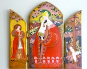 Hand Painted Wood Triptych Folk Art  Heirloom Signed