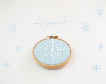 Christmas ornament, Embroidery Christmas tree decor, holiday décor, snow flake, White and Blue Christmas decoration, stocking stuffer - 3""