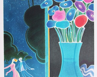 "Vintage Large and Colorful Lithograph ""ROMANCE"" - Albert Zavaro - Certificate COA"
