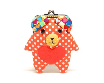 Bear my love orange hearty card holder wallet