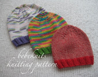 Bebeknits Colorful Cottons Simple Baby Hat Knitting Pattern