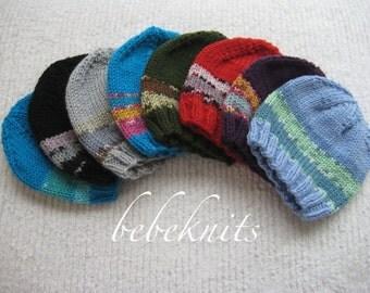 Hand Knit Bebeknits Simple Stripe Newborn Baby Hat