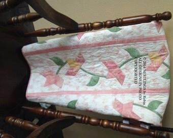 Pink Floral Baby quilt in Pink Trillium design