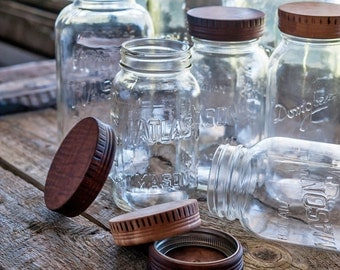 Wood Mason Jar Lids [2], Kitchen Gifts, Wood Top for Canning Jars, Teachers Gift, Storage Display, Food in Jars, Food Gifts