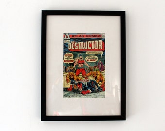 Vintage Comic Book Cover Framed  - Atlas Comics - The Destructor