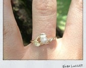 Snow White- raw rough diamond - 14 k gold one of a kind ring-unique rose design setting