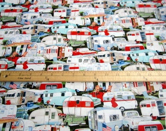 Vintage Trailers packed Trailer cotton fabric by Elizabeth's Studio