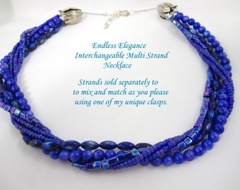 Shop Closing Coupon Sale, Cobalt Blue Multi Strand Necklace for Interchangeable Collection 4mm cube bead multi wear detachable