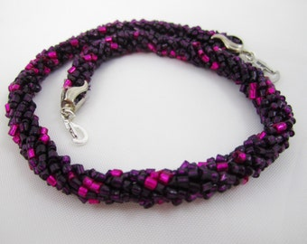 Deep Berry Seed Bead Rope Necklace for Interchangeable Multi Strand Collection