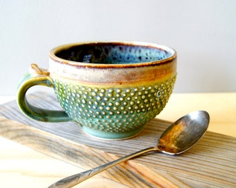 One Handmade 16 ounce Round Profile Style with Dotty Textured Surface Coffee Mug
