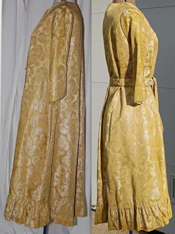 vintage gold cocktail dress, 60s brocade,red carpet, vintage dressing gown, party dress, or opera coat, Peer hostess gown