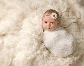 RTS, Newborn Stretch Wrap, Neutral Stretch Wrap, White Baby Wrap, White Stretch Wrap, Newborn Girl Prop, Baby Girl Photo Props, Neutral Wrap