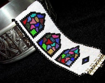 Stained Glass Bracelet, Beadwoven Cuff Bracelet, Castle Windows, Hand Made in the USA