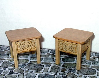 2 Rustic Scandinavian Stools,  Pair of Stools, Medieval Dollhouse Miniatures 1/12 Scale, Hand Made in the USA