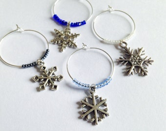 Winter Snowflake Wine Charms: The perfect gift for your wine-lovers this holiday season. Set of 4 to Set of 6.