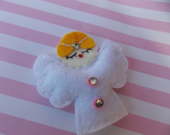 Angel Felt Hair Clippie or Clip Boutique style Christmas Angel
