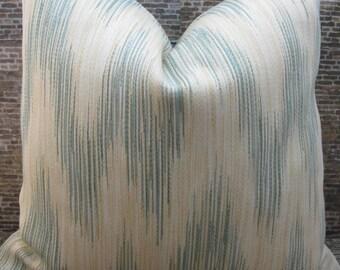 Designer Pillow Cover Lumbar, 18 x 18, 20 x 20 - Ikat Flamestitch Zig Zag Light Blue & Cream